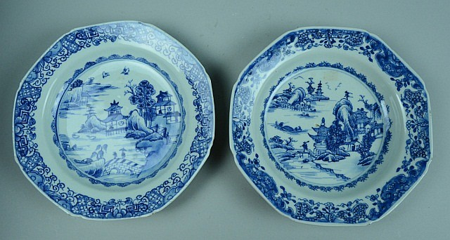 Pair of Blue White Porcelain Export Plates
