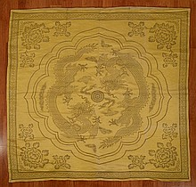 Chinese Yellow Dragon Silk Brocade Seat Cover