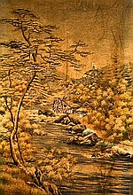 Japanese Landscape Silk Embroidery