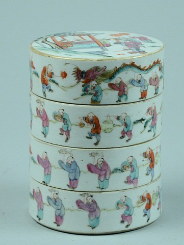 Chinese Porcelain Stacked Boxes