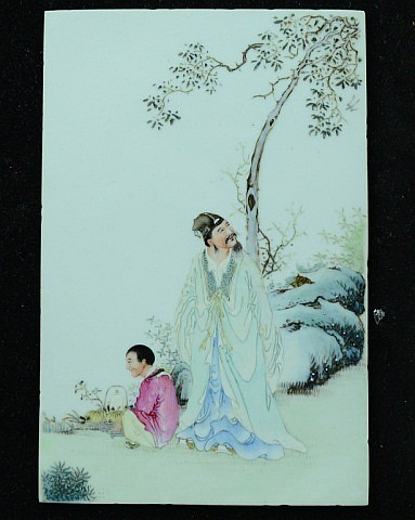 Pair of Chinese Famille Rose Porcelain Tiles