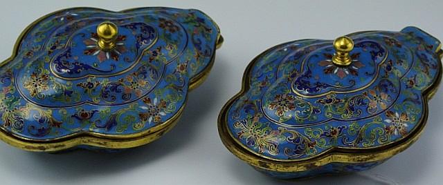 Pair Chinese Peking Enameled Covered Bowl