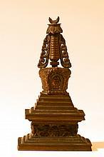Sino Tibetan Bronze Stupa
