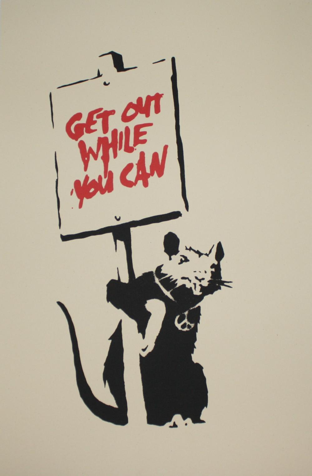 BANKSY ~ GET OUT WHILE YOU CAN SCREEN PRINT L/E of 500