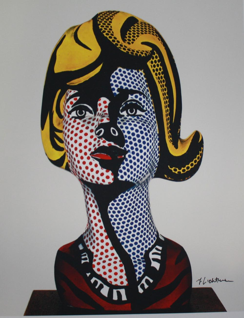 "LICHTENSTEIN, ROY, Hand Signed print depicting sculpture called ""Woman with a Blue Shadow""."