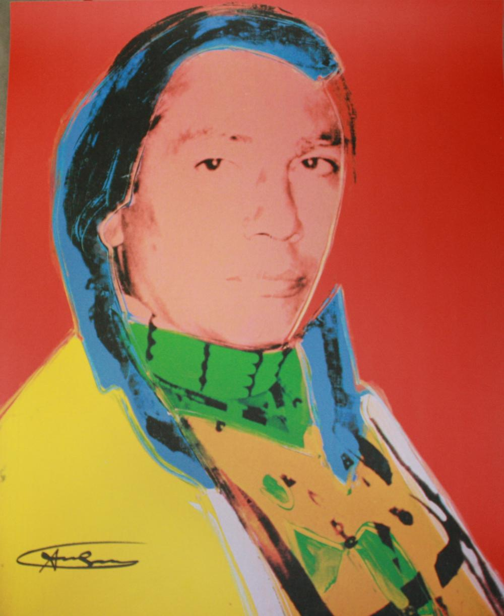 "Andy Warhol ~ ""American Indian"", Hand Signed Offset Lithograph"