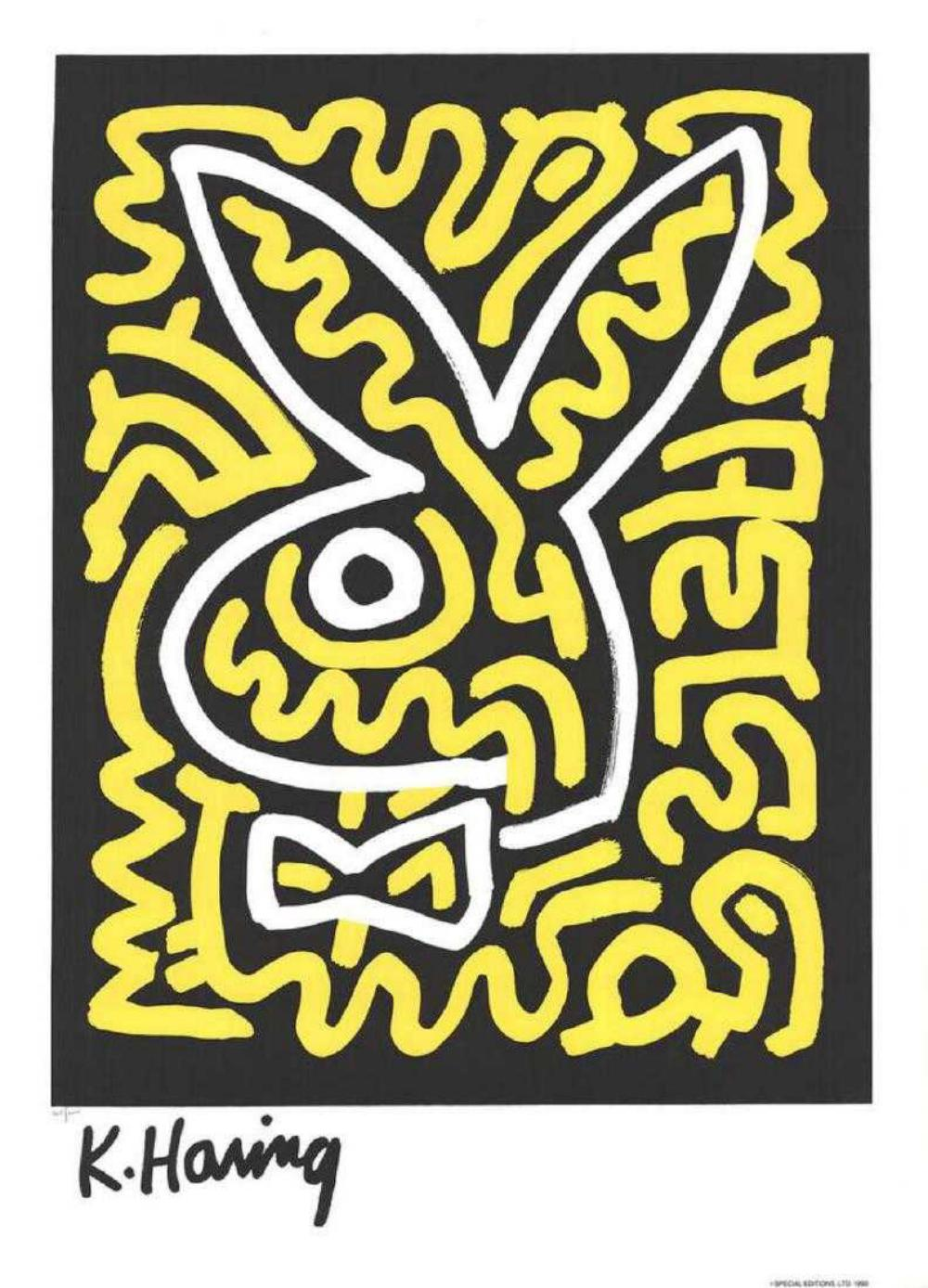 "Keith Haring (after) ""Bunny"" Framed, Silkscreen"