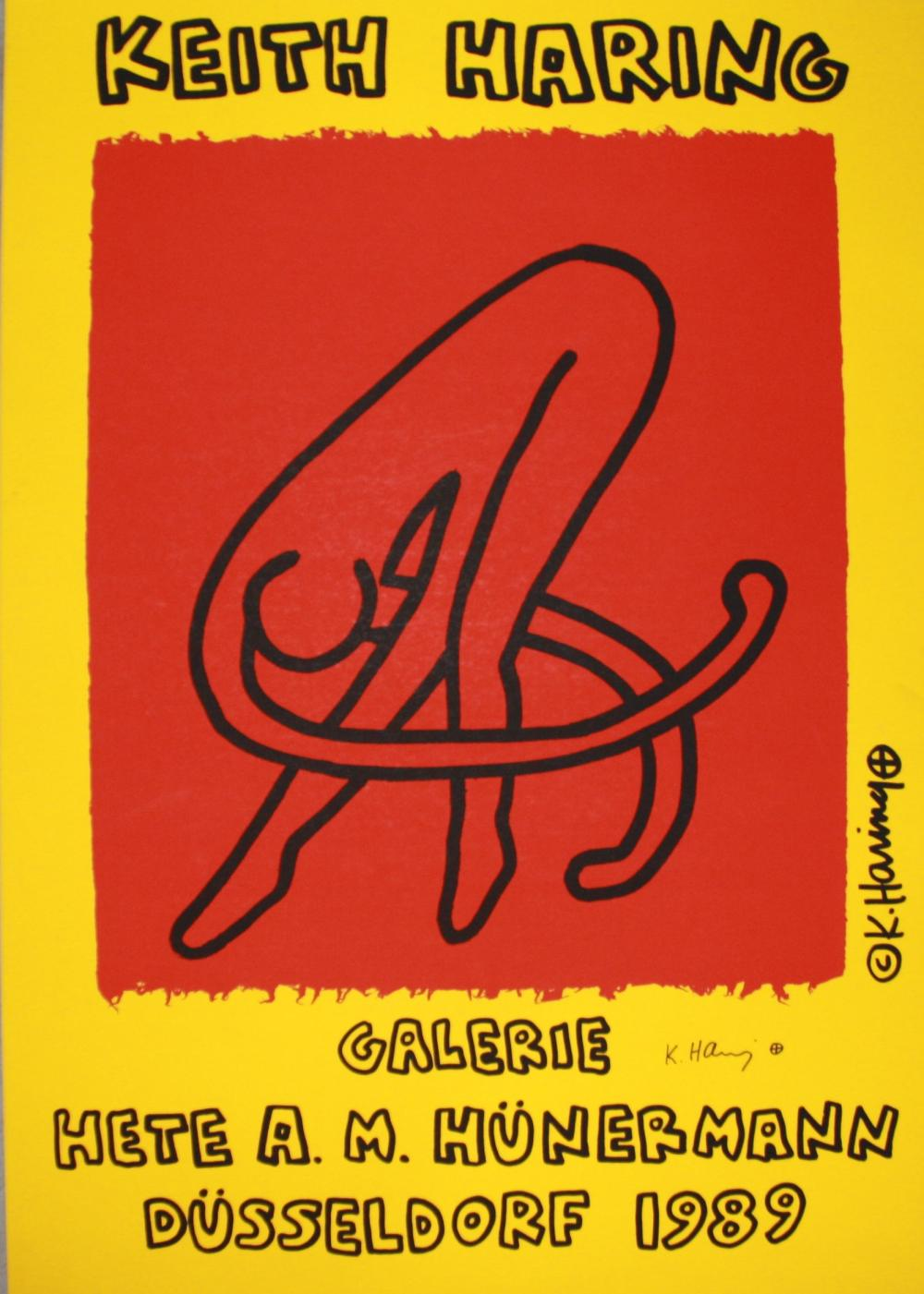 Keith Haring, Hand Signed Vintage Exhibition Announcement