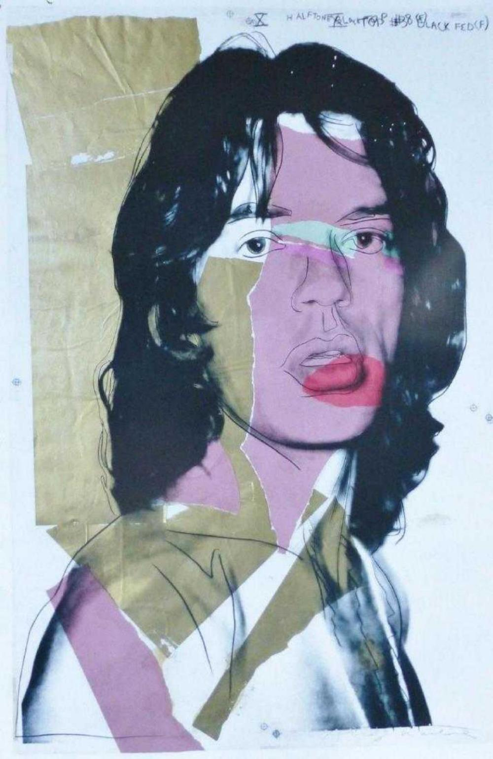 "ANDY WARHOL "" MICK JAGGER 1975 "" ROLLING STONES FRAMED"