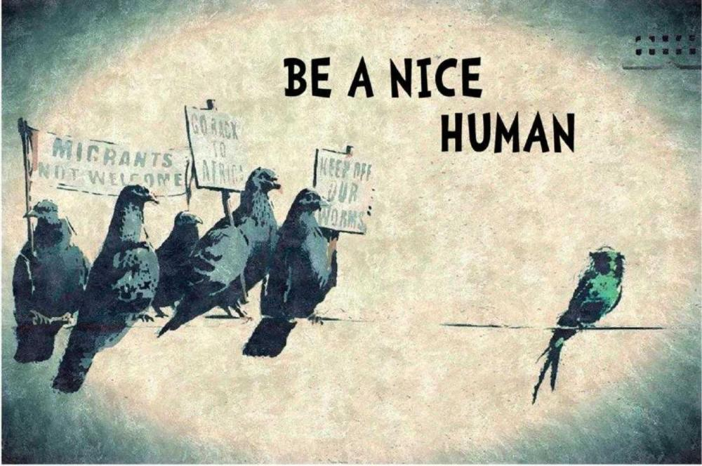 BANKSY, BE A NICE HUMAN, OFFSET LITHOGRAPH FRAMED
