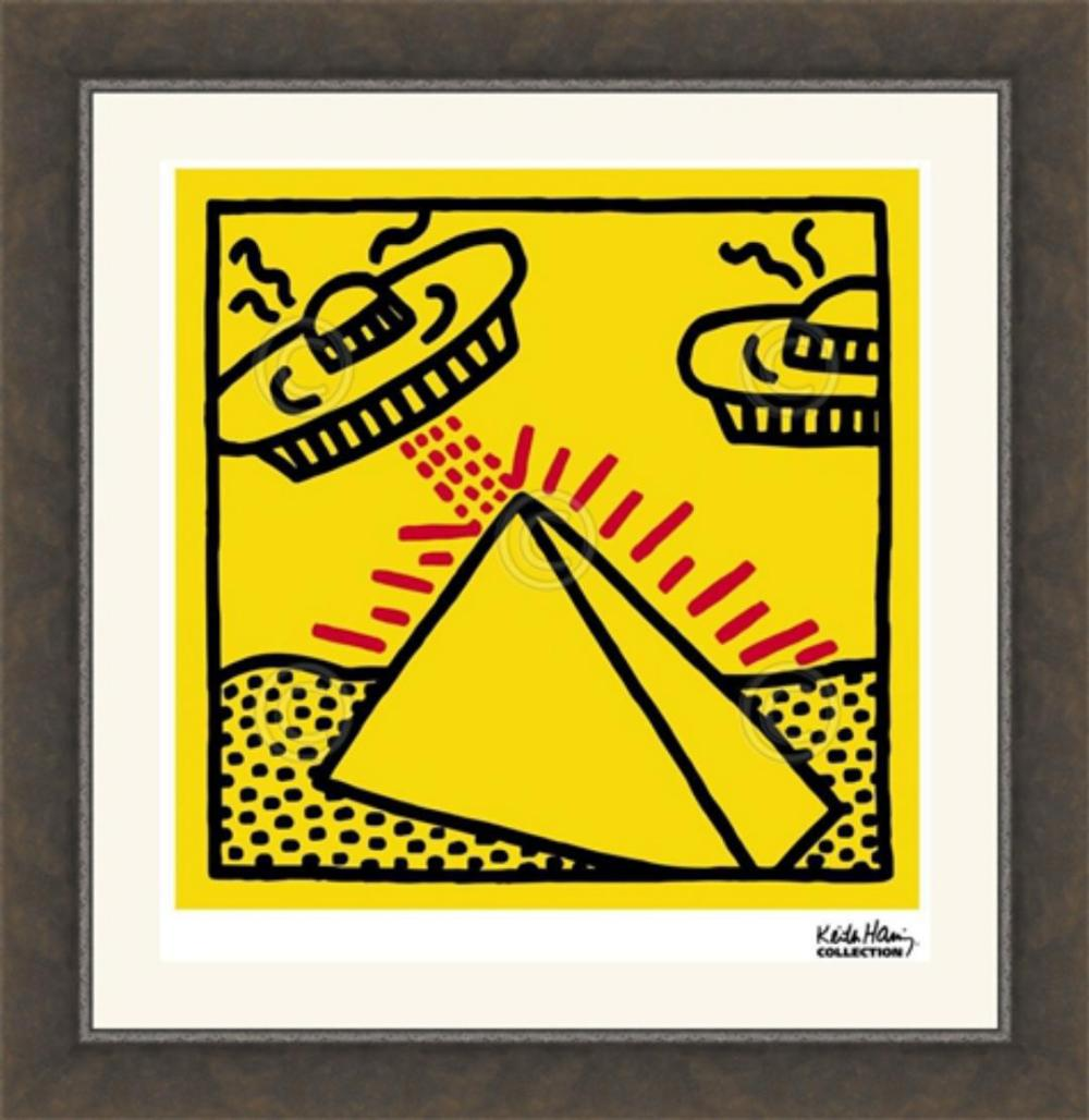 Keith Haring, 1984 Untitled(Pyramid With UFOs) Art Print, Offset Lithograph 11x14