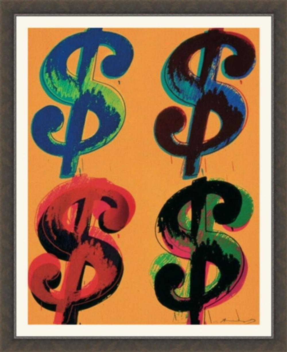 Andy Warhol, Four Dollar Signs (Framed), Art Print Offset Lithograph, 4 $'s