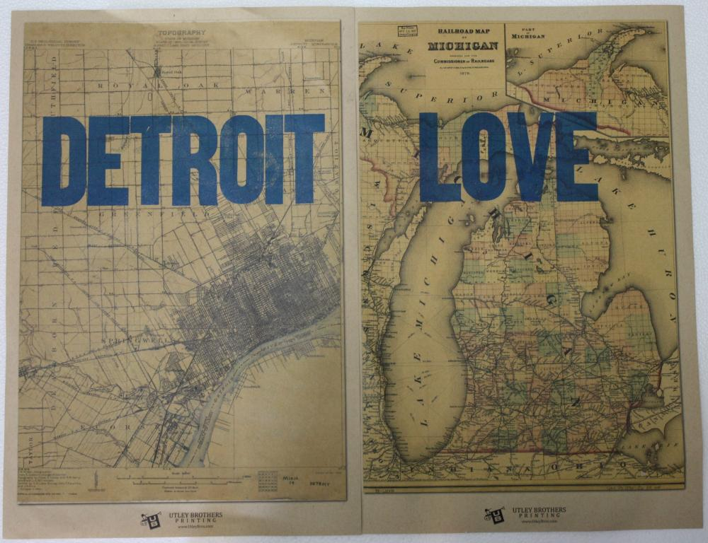 """Detroit Love"" Stamped Map Set of 2"