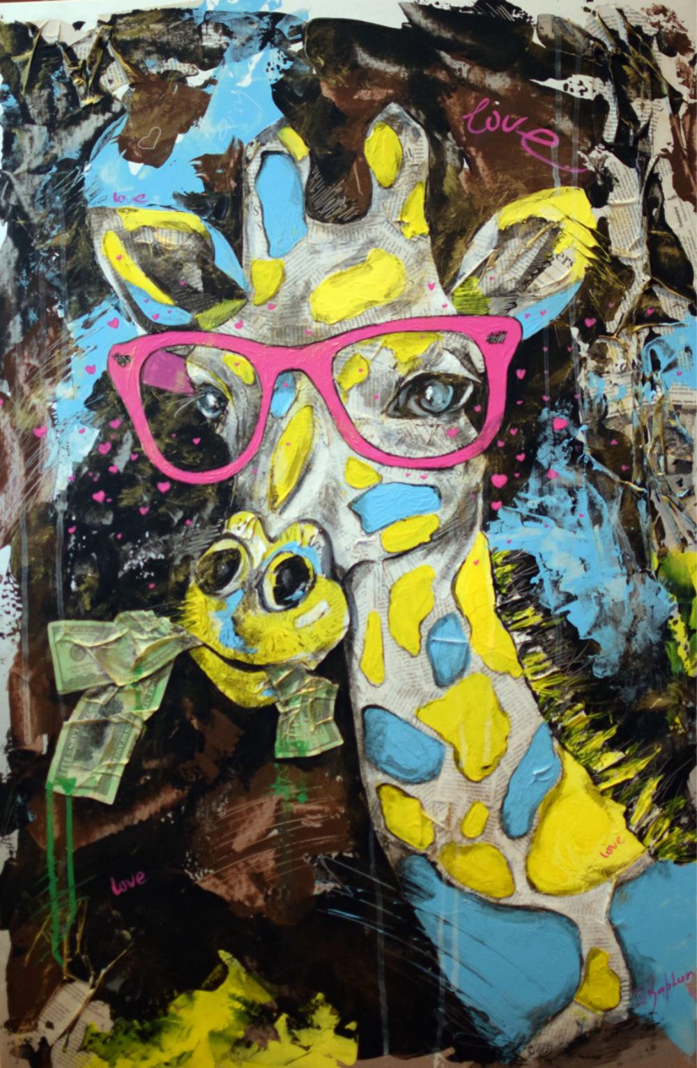 "Iness Kaplun, ""Pink Glasses"", Mixed Media"