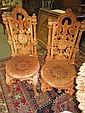 Pair Black Iron Garden Chairs