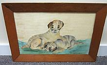 Primitive Watercolor 2 Dogs Colby College ME 19C