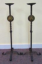 Pair Tall Iron Candlesticks