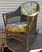 Brown Wicker Chair with Cushions