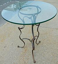 Iron and glass bistro table