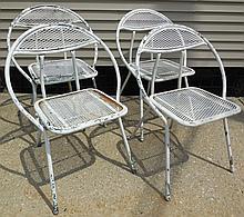 4 Metal mesh chairs