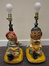 Pair Raggedy Ann and Andy Chalk Lamp Bases