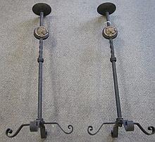 Pair Iron Candlesticks 31.5