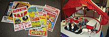 Wooden Circus Toys with Big Top and 22 Miscellaneous Circus Posters