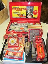 7 Piece Lot - Erector Set, Telephone, Glasses Miscellaneous toys