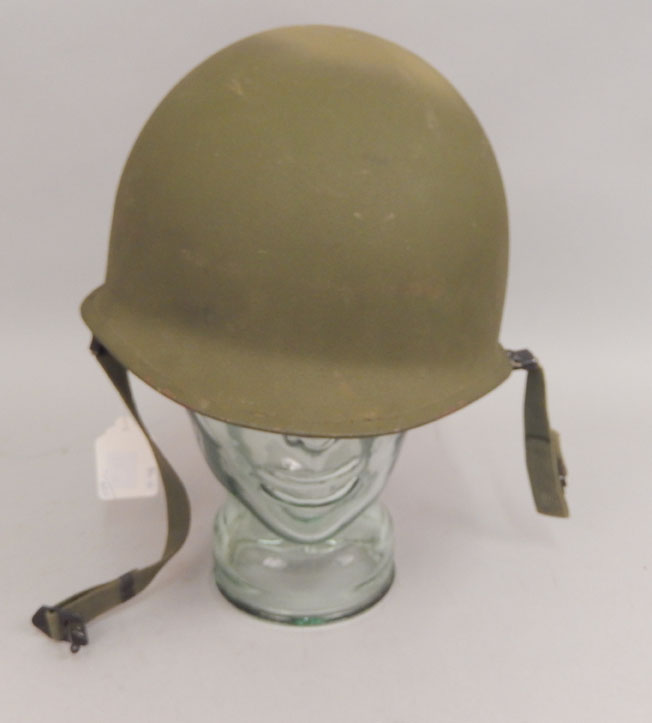 US M1 helmet with liner and chinstrap