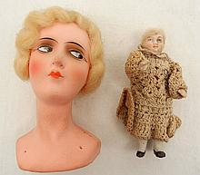 Miniature all bisque doll and German compo head