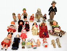 Small grouping of miniature celluloid and bisque dolls
