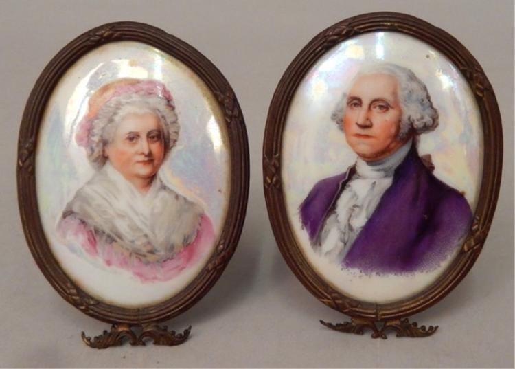 Miniature portraits on porcelain of George and Martha Washington