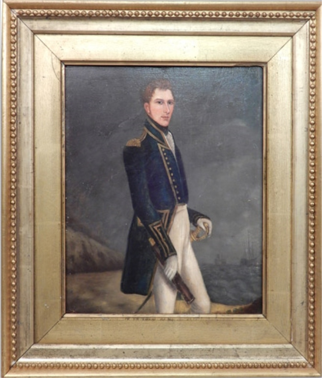 Ca. 1820 portrait of a U.S. naval officer oil on board
