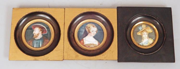 Three framed hand painted miniature portraits