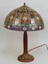 Handel table lamp with stained glass shade