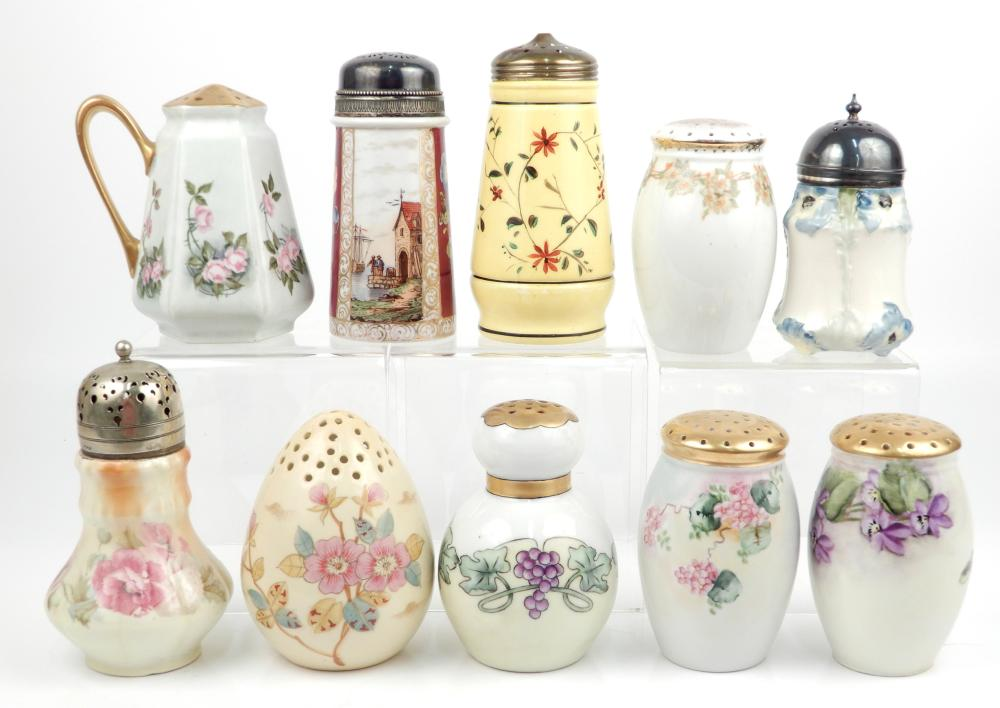 Ten hand painted porcelain sugar shakers
