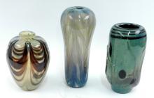 Roland Jahn three art glass vases