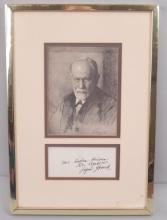 Framed portrait of Sigmund Freud with signature