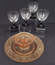Tiffin glass stemware and chip and dip server