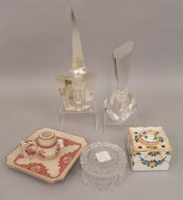 Grouping of dresser pieces, ink well, candle holder
