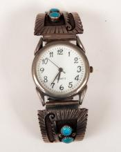 Navajo sterling and turquoise watch band