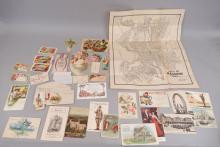 Lot of late 19th & early 20th C. postcards, booklets, calling cards, etc.