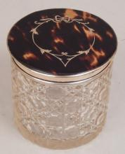 English cut glass dresser jar with tortoise shell and inlaid sterling lid