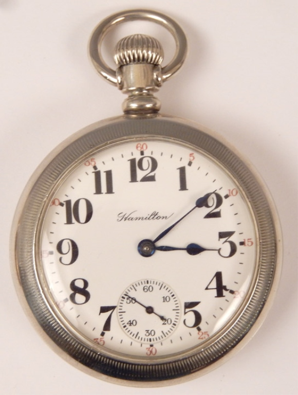 two hamilton railroad pocket watches