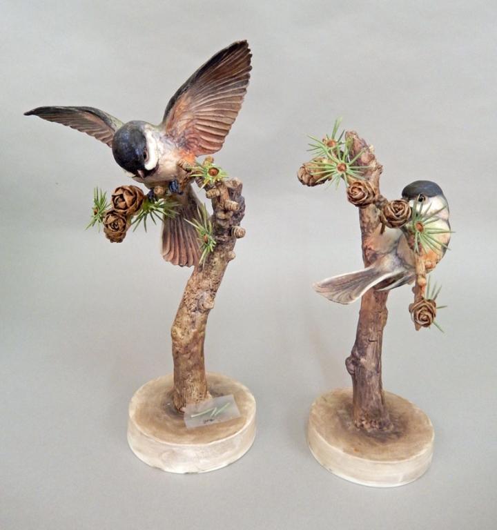 Pair of royal worcester chickadee porcelain figurines - Chickadee figurine ...