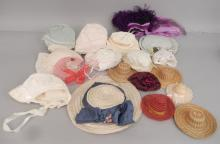 Grouping of doll hats and bonnets