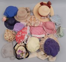 Grouping of vintage doll hats