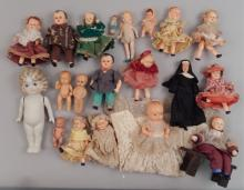 Collection of assorted small dolls