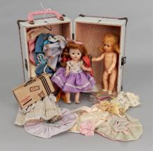 1950's trunk with Ginger dolls & clothes
