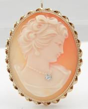 Vintage 14k gold cameo pendant brooch